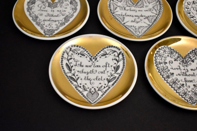 Set of Eight LOVE Fornasetti Coasters In Good Condition In Dallas, TX