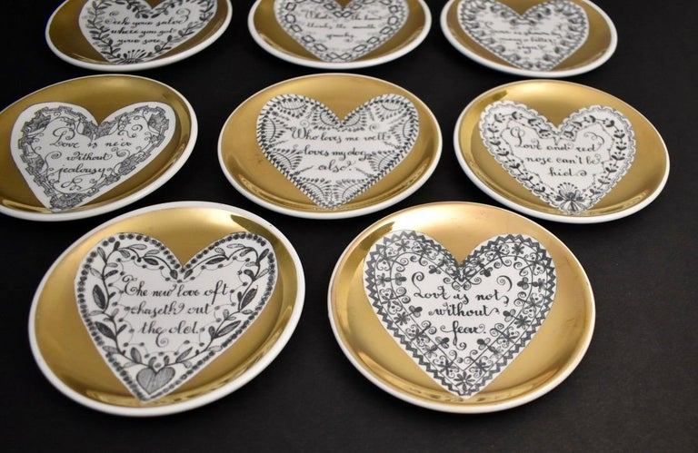Mid-20th Century Set of Eight LOVE Fornasetti Coasters