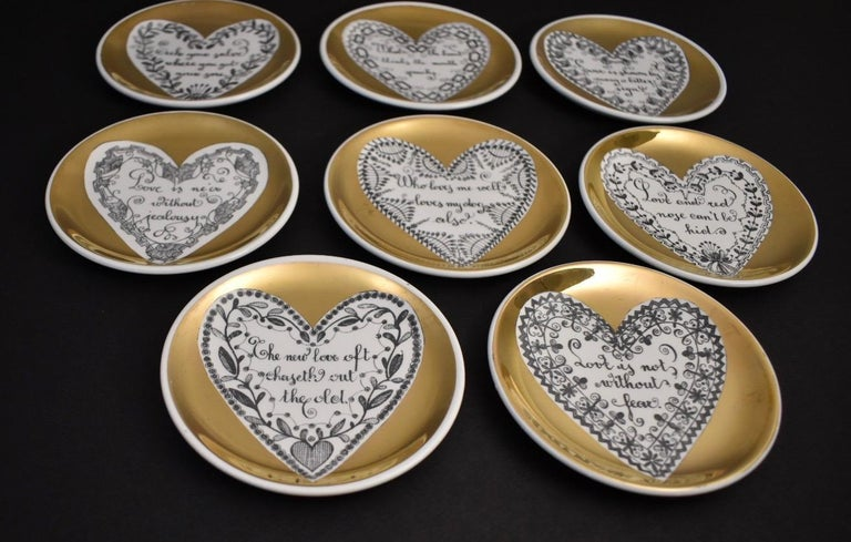 Ceramic Set of Eight LOVE Fornasetti Coasters