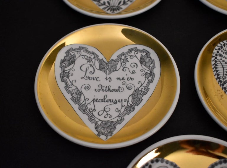 Set of Eight LOVE Fornasetti Coasters 1