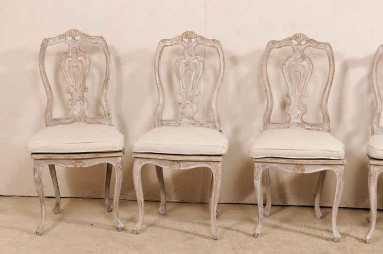 Set of Eight Lovely Italian Painted Wood Dining Chairs ...