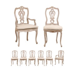 Set of Eight Lovely Italian Painted Wood Dining Chairs with Custom Seat Cushions