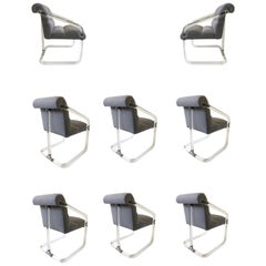 Set of Eight Lucite and Chrome Dining Chairs by Lion in Frost