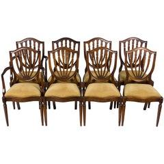 Set of Eight Mahogany Hepplewhite Shield Back Dining Room Chairs
