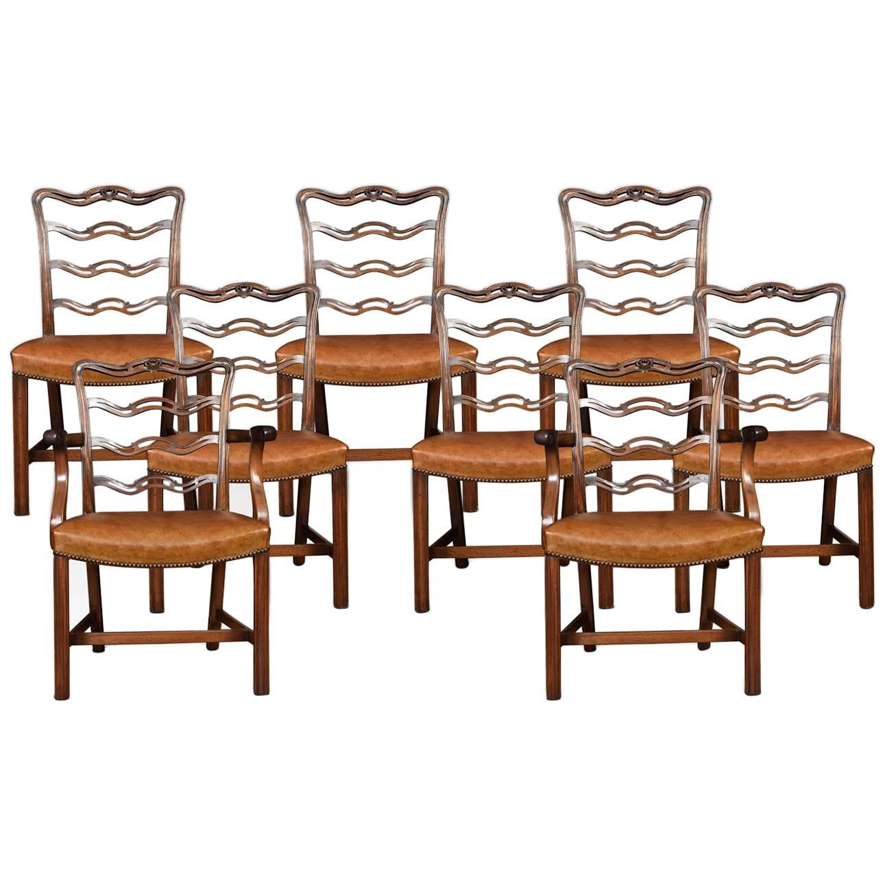 Fantastic Set Of Eight English Mahogany Chippendale Style Dining Chairs Short Links Chair Design For Home Short Linksinfo