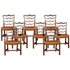 Set of Eight Mahogany Ribbon Back Chippendale Style Dining Chairs