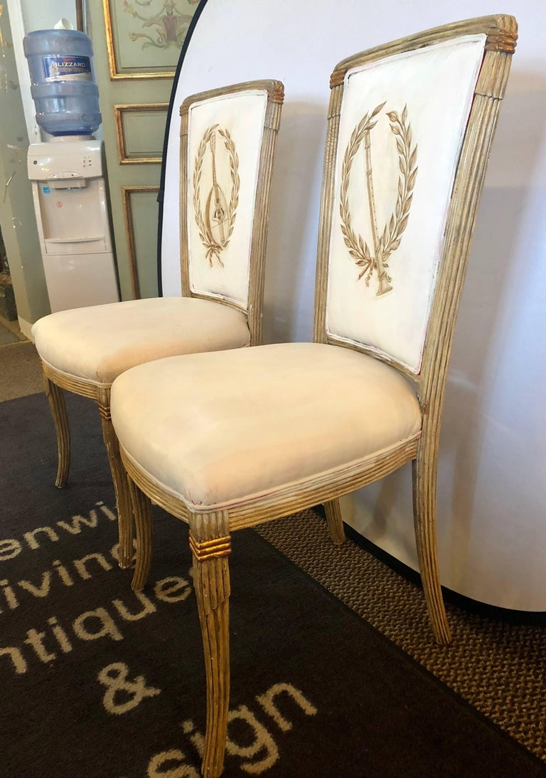 Set of Eight Maison Jansen Dining Chairs Each Having a Custom Painted Back Rest For Sale 5