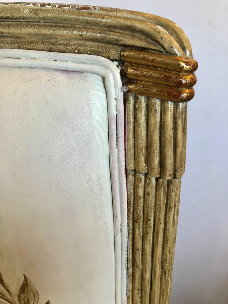 Hollywood Regency Set of Eight Maison Jansen Dining Chairs Each Having a Custom Painted Back Rest For Sale