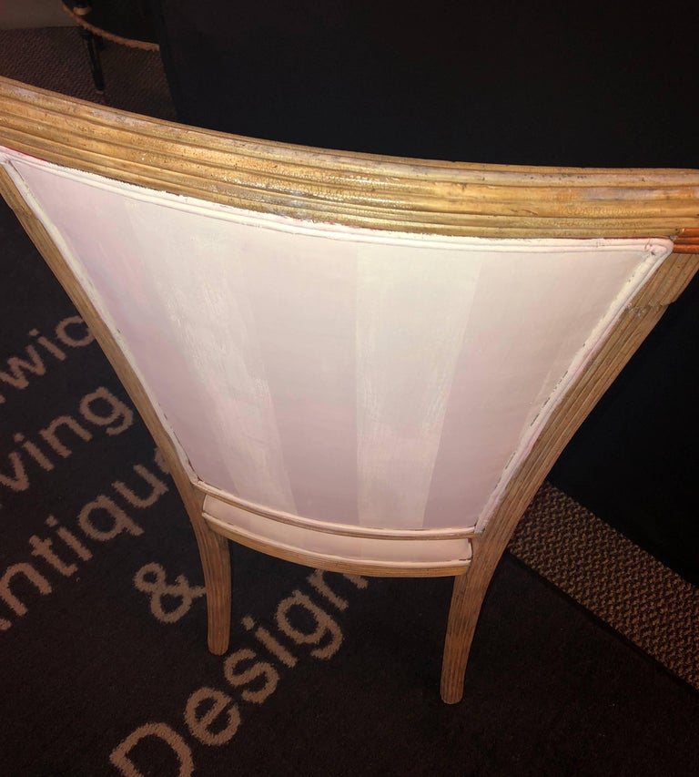 Set of Eight Maison Jansen Dining Chairs Each Having a Custom Painted Back Rest In Good Condition For Sale In Stamford, CT