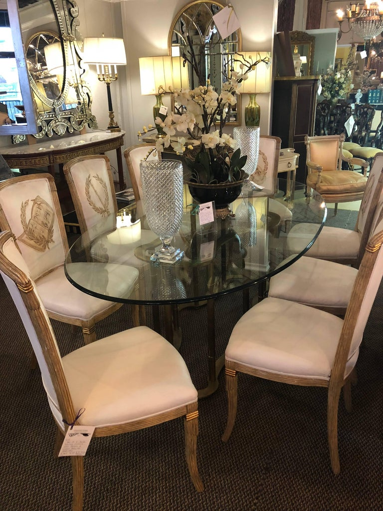 Set of Eight Maison Jansen Dining Chairs Each Having a Custom Painted Back Rest For Sale 4