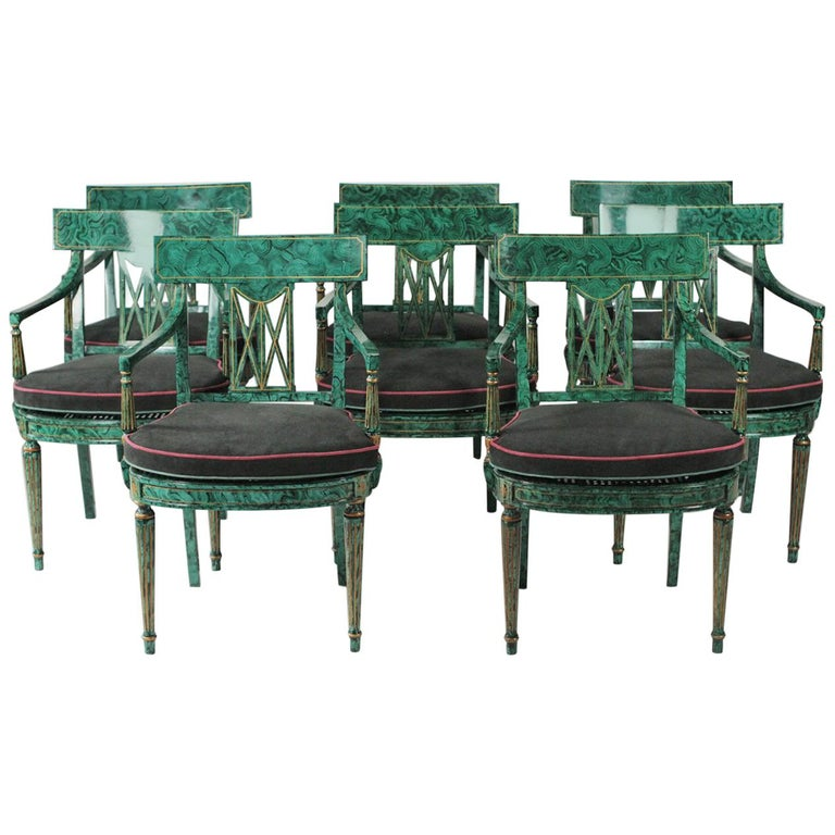Set Of Eight Maitland Smith Faux Painted Malachite Dining Room Armchairs For Sale