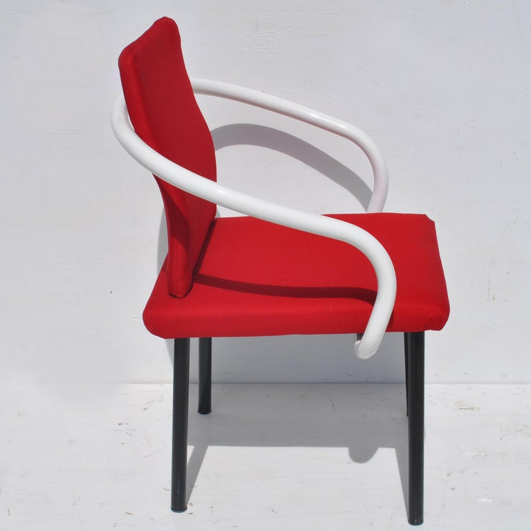 Set of Eight Mandarin Dining Chairs Designed by Ettore Sottsass for Knoll  In Good Condition For Sale In Pasadena, TX