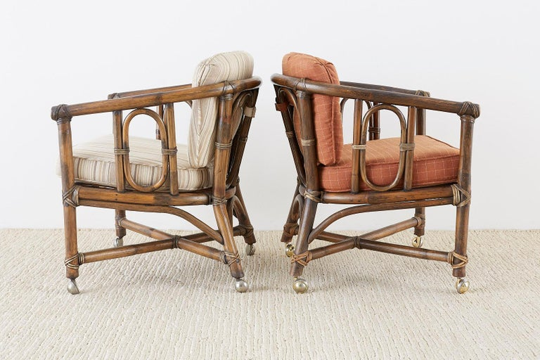 Set of Eight McGuire Bamboo Rattan Lounge Chairs For Sale 2