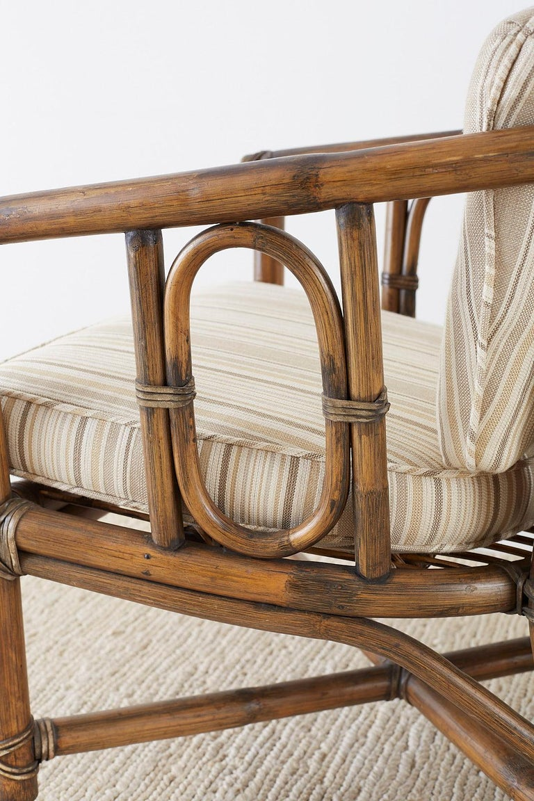 Set of Eight McGuire Bamboo Rattan Lounge Chairs For Sale 3