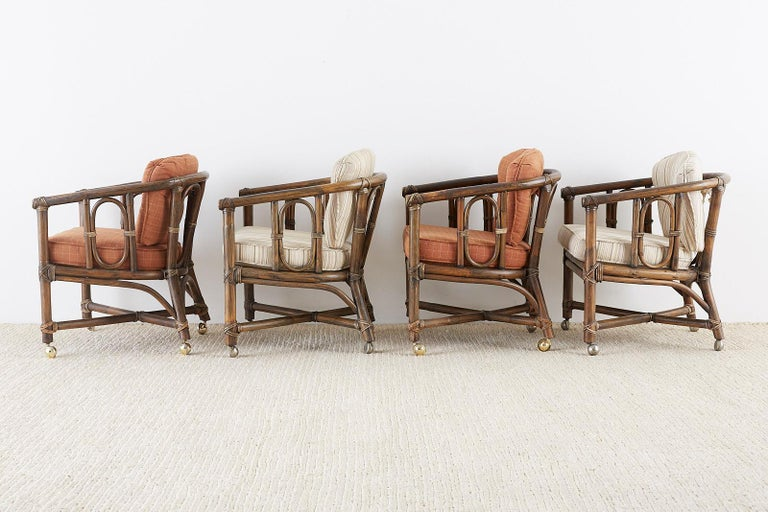 Organic Modern Set of Eight McGuire Bamboo Rattan Lounge Chairs For Sale