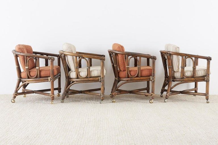 American Set of Eight McGuire Bamboo Rattan Lounge Chairs For Sale
