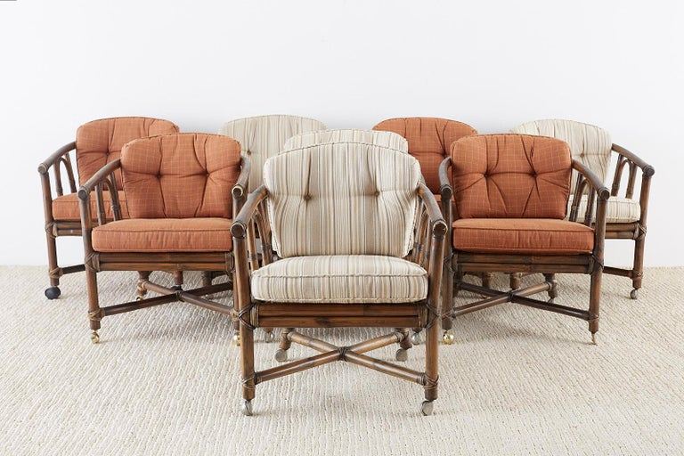 Hand-Crafted Set of Eight McGuire Bamboo Rattan Lounge Chairs For Sale