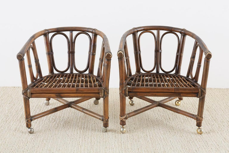 Set of Eight McGuire Bamboo Rattan Lounge Chairs In Good Condition For Sale In Oakland, CA