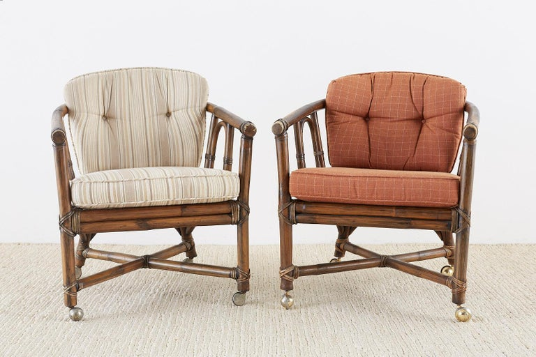 Leather Set of Eight McGuire Bamboo Rattan Lounge Chairs For Sale