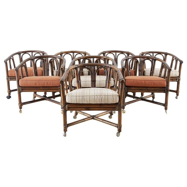Set of Eight McGuire Bamboo Rattan Lounge Chairs For Sale