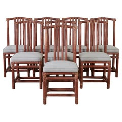 Set of Eight McGuire Organic Modern Rattan Dining Chairs