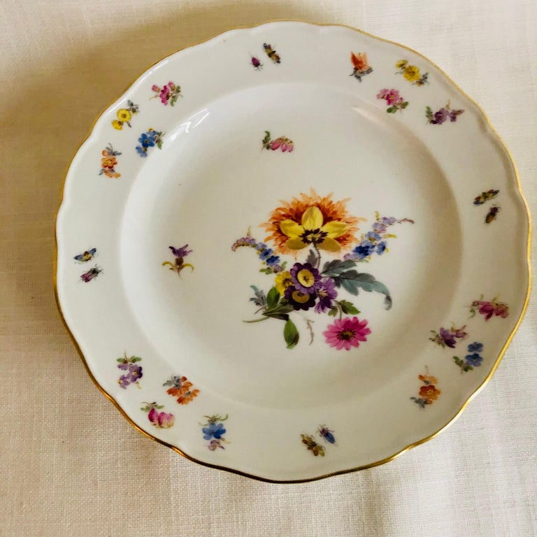 Set of Eight Meissen Dessert Plates Each Painted with a Different Flower Bouquet For Sale 2