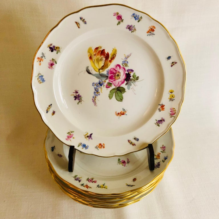I want to offer you this beautiful set of eight Meissen dessert plates. Each plate is painted with a different central flower bouquet. Inside the gilded border of each plate are smaller flowers and insects as you can see on the attached photographs.
