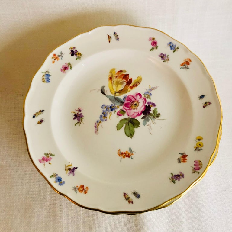 Romantic Set of Eight Meissen Dessert Plates Each Painted with a Different Flower Bouquet For Sale