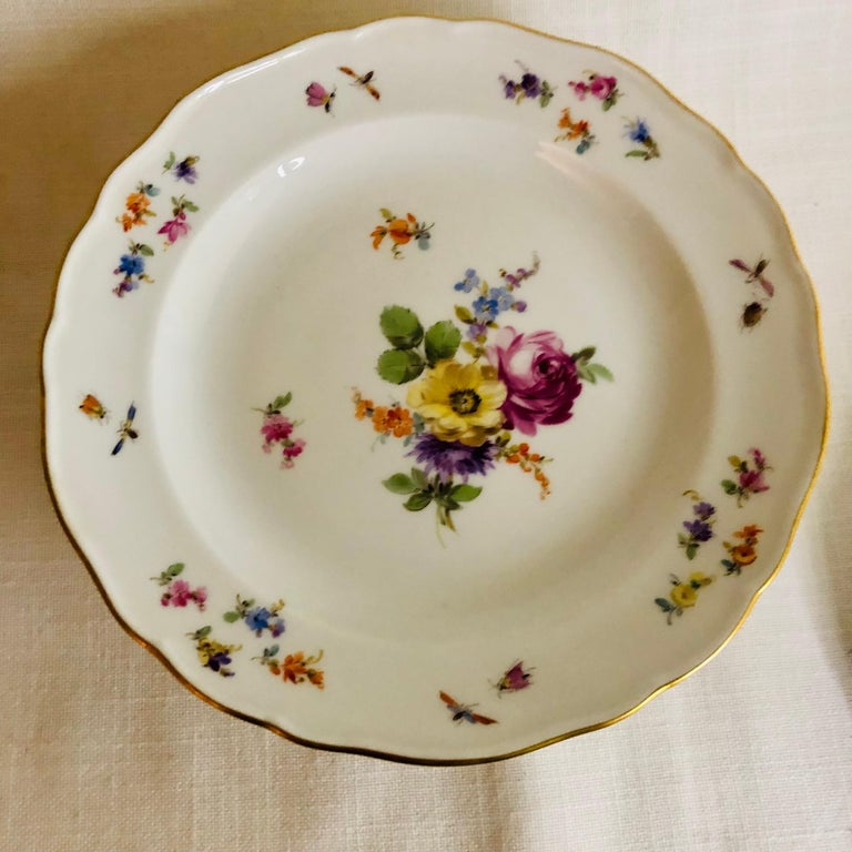 Hand-Painted Set of Eight Meissen Dessert Plates Each Painted with a Different Flower Bouquet For Sale