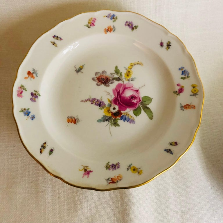 Set of Eight Meissen Dessert Plates Each Painted with a Different Flower Bouquet In Good Condition For Sale In Boston, MA