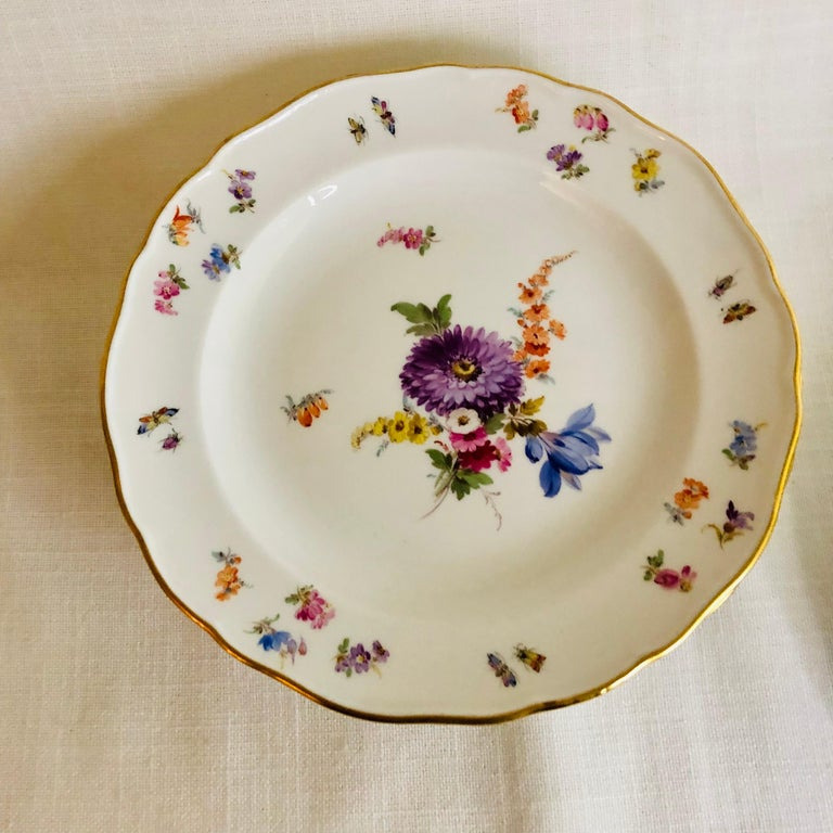 Late 19th Century Set of Eight Meissen Dessert Plates Each Painted with a Different Flower Bouquet For Sale