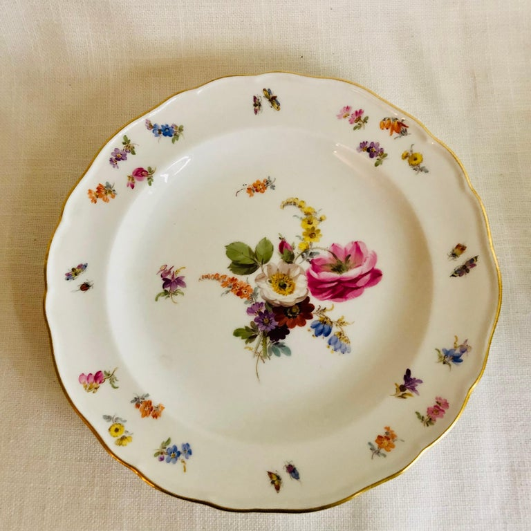 Porcelain Set of Eight Meissen Dessert Plates Each Painted with a Different Flower Bouquet For Sale