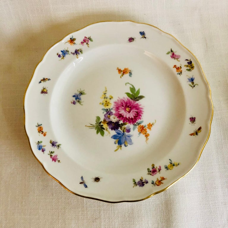 Set of Eight Meissen Dessert Plates Each Painted with a Different Flower Bouquet For Sale 1