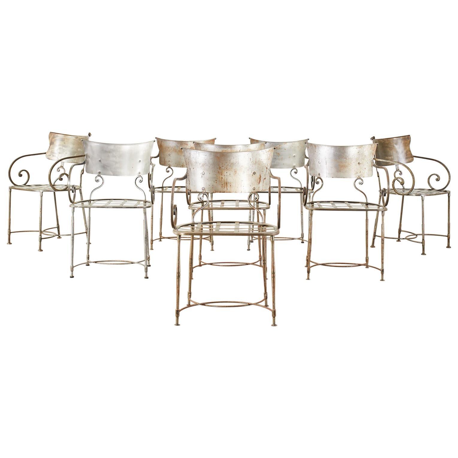 Set of Eight Metal Garden Dining Armchairs by Arhaus