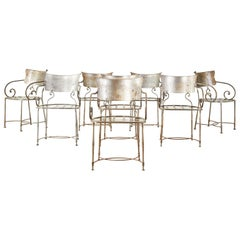 Set of Eight Metal Garden Dining Armchairs by Arhaus