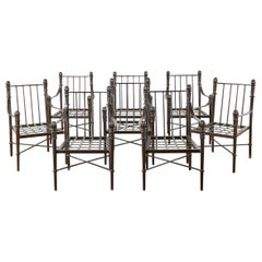 Set of Eight Michael Taylor Bronzed Montecito Dining Armchairs
