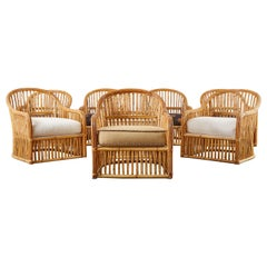 Set of Eight Michael Taylor Organic Modern Bamboo Lounge Chairs