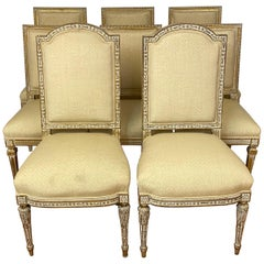 Set of Eight Mid-20th Century French Style Carved Dining Chairs, circa 1940