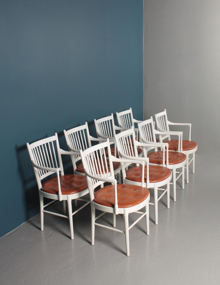 Scandinavian Modern Set of Eight Midcentury Armchairs with Patinated Leather seats by Wiinblad For Sale