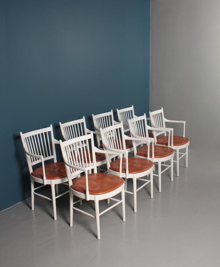 Swedish Set of Eight Midcentury Armchairs with Patinated Leather seats by Wiinblad For Sale