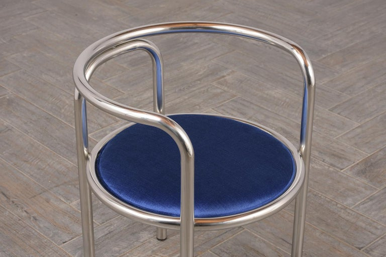 Hand-Crafted Set of Modern Barrel Back Chairs For Sale