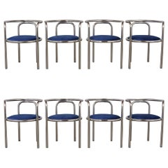 Modern Set of Six Barrel Back Chrome Dining Chairs