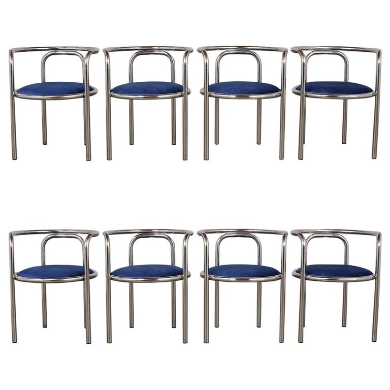 Modern Set of Eight Barrel Back Chrome Dining Chairs For Sale