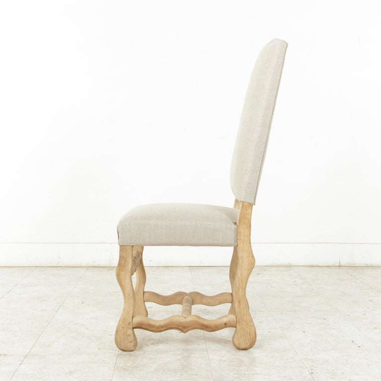 20th Century Set of Eight Midcentury French Oak Mutton Leg Side Chairs, Dining Chairs, Linen For Sale