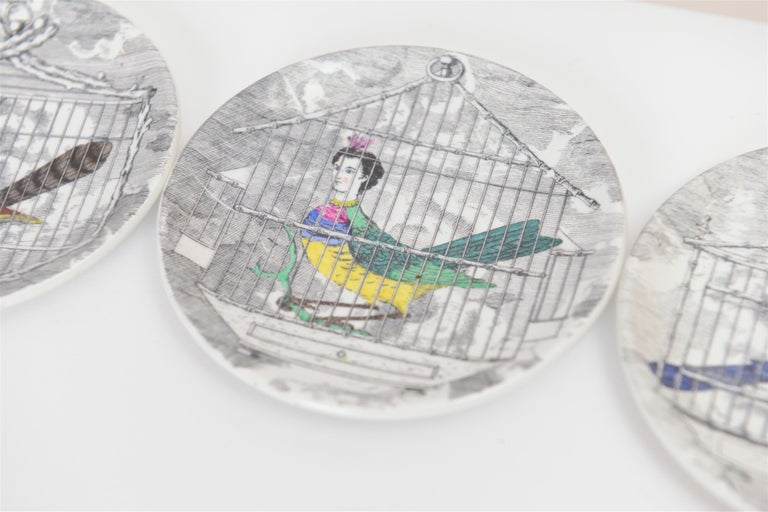 Mid-Century Modern Set of Eight Midcentury 'Le Arpie Gentili' Coasters by Piero Fornasetti For Sale