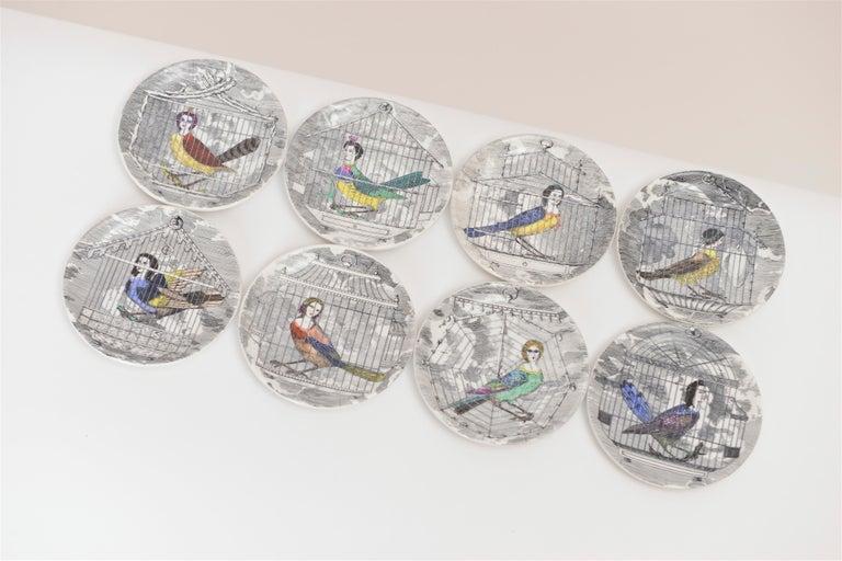 Italian Set of Eight Midcentury 'Le Arpie Gentili' Coasters by Piero Fornasetti For Sale