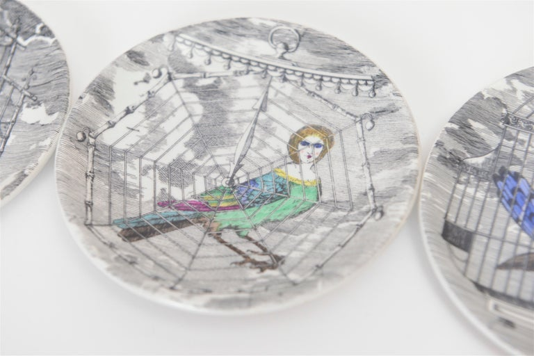 Mid-20th Century Set of Eight Midcentury 'Le Arpie Gentili' Coasters by Piero Fornasetti For Sale