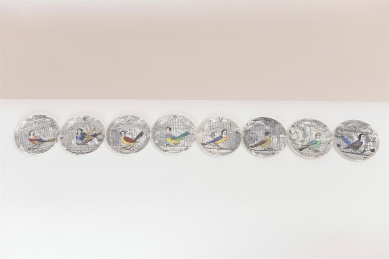 Ceramic Set of Eight Midcentury 'Le Arpie Gentili' Coasters by Piero Fornasetti For Sale
