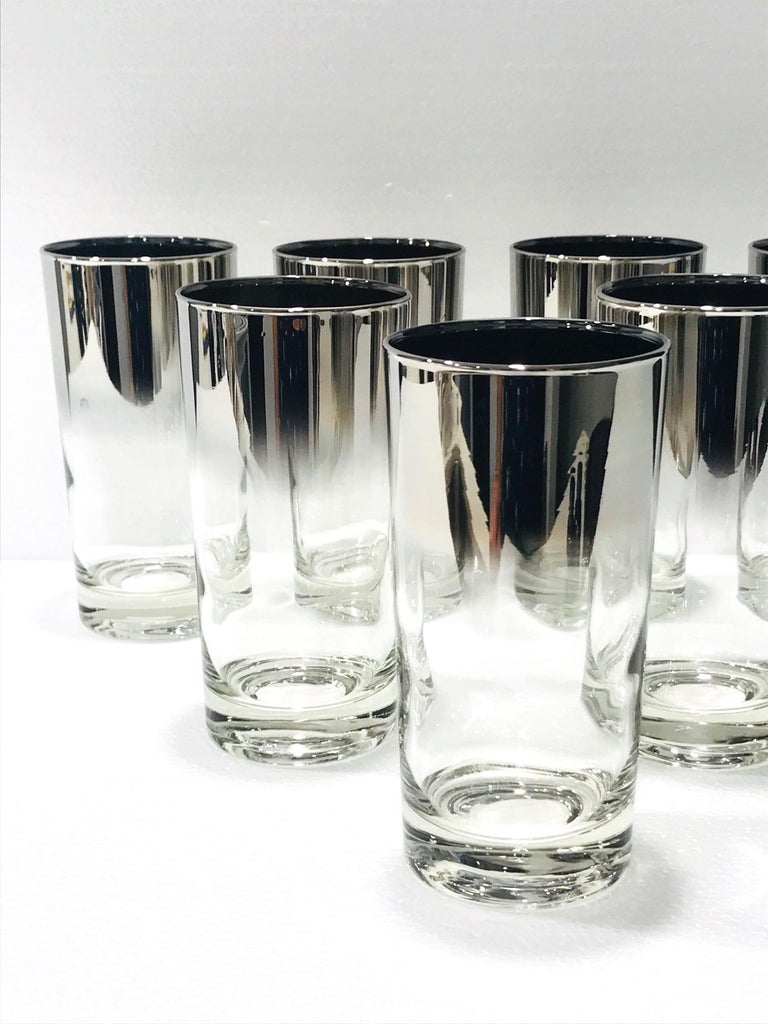 Set of Eight Mid-Century Modern Barware Glasses with Silver Overlay, 1960s In Good Condition For Sale In Miami, FL