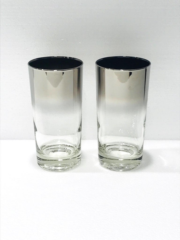 Mid-20th Century Set of Eight Mid-Century Modern Barware Glasses with Silver Overlay, 1960s For Sale
